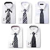 (ドレスコード101) ワイシャツ5枚&ネクタイ5本セット シャツサイズM SETNo.1
