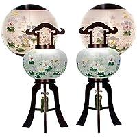 盆提灯 10号 対仕様(左右2台1組) 置き型 美吉野 絹二重 高さ70cm 電気コード式 日本製 行灯 盆提灯 八女提灯
