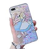 iPhone 7 携帯ケース 液体 キラキラ 可愛い美人アリス 透明ソフト 流れハートiPhone 8 携帯電話カバー (iPhone 7 / 8, Big Skirt)