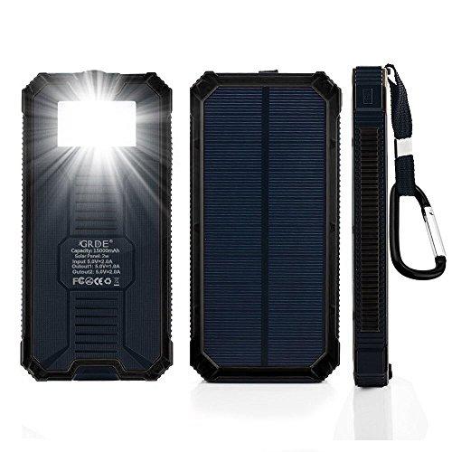 lvshanソーラーモバイルバッテリー、15000mAh 大容量、モバイルバッテリー、ソーラーパネル、明るいLEDライト、表面防水、防雪、防塵、耐衝撃、USB充電ポート、かっこいい外観 (黒い)