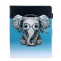 iPad Pro 11 ケース iPad Pro 11 カバー アイパッド プロ 11 カバー 可愛い メガネ 象柄 レザーケース 多段階調整可 カード収納 スタンド機能 マグネット式 タブレットカバー ケース 耐衝撃 薄型 全面保護 手帳型 スマートケース【Astarz】