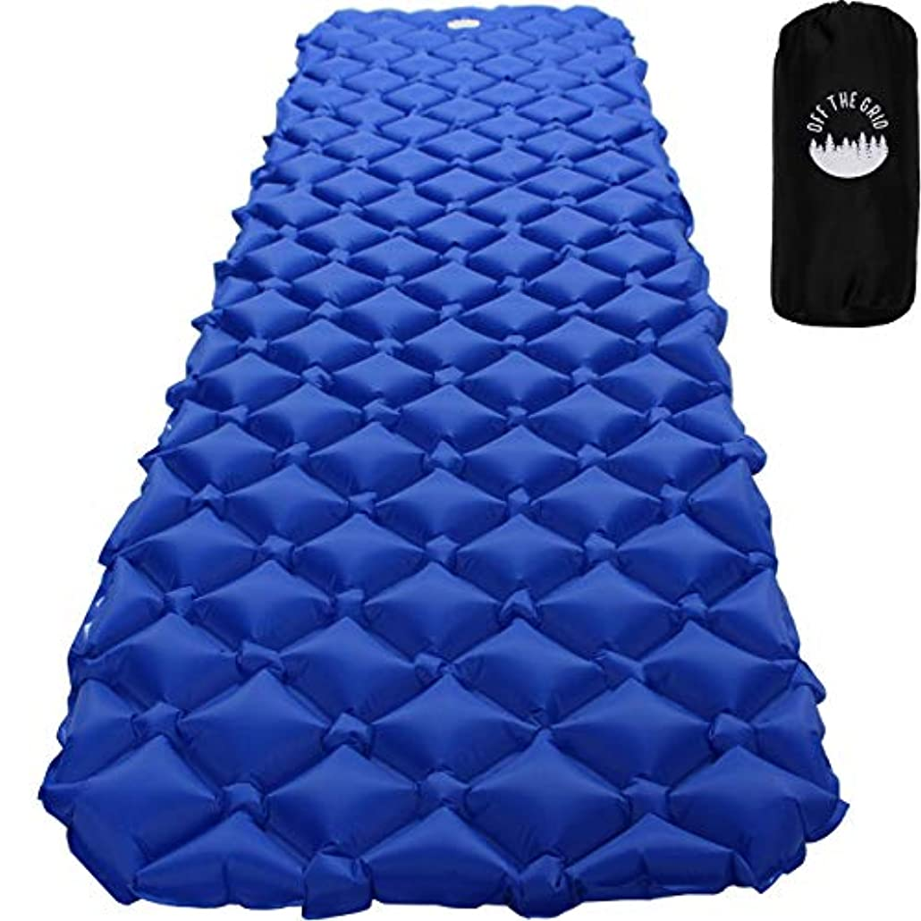 限定炎上ラリーOff the Grid Ultralight Air Sleeping Pad - Camping Lightweight Inflatable Mat - Portable Waterproof Mattress for Traveling, Hiking, Backpacking, Outdoors (Blue) [並行輸入品]