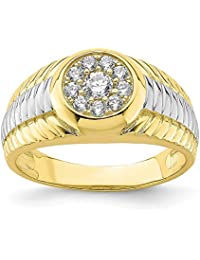 10k Yellow Gold Cubic Zirconia Cz Mens Band Ring Size 9.50 Man Fine Jewelry Gift For Dad Mens For Him
