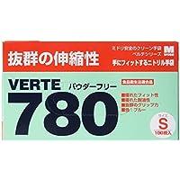 ミドリ安全 ニトリルディスポ手袋 ベルテ780N 粉なし 青 100枚入(極薄・滑り止め)
