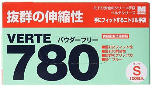 ミドリ安全 ベルテ ニトリル手袋 780N 粉なし ブルー S 100枚×100枚