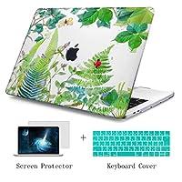 TwoL 13.3 インチ MacBook Air Retina & Touch ID ケース 2018 2019 + キーボードカバー + 保護フィルム 排気口底部 薄型 耐衝撃 ハードケース シェルカバー 保護カバー, 緑の葉