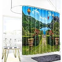 シャワーカーテン - カドバグリーンヒルズとグリーンウォーターパターンのバスルーム防水アクセサリー (Color : A, Size : 150x180cm)