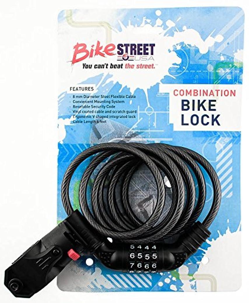 添付申し立て着飾るバイク ストライプ 組み合わせ バイク ロック ケーブル 8mm x 6フィート コンボ フレキシブル 取り付け付き