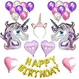 MORA 誕生日風船 バルーンセット ユニコーン 誕生日パーティー飾り付けセット 女の子 パーティーグッズ お祝い 風船セット 吊るせる カチューシャ 星型 ハット型 タッセル 紐 テープ おしゃれ
