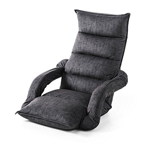 サンワダイレクト 座椅子 ひじ掛け付き ハイバック ひじ掛け連動 42段階リクライニング ブラック 150-SNCF010BK