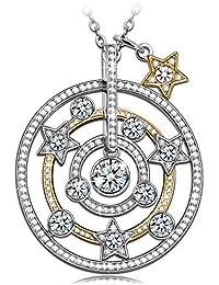 NINASUN純銀のネックレス子供へ七夕祭りのプレゼント♥銀河♥金メッキS925シルバー製星AAAAジルコニアのペンダント彼女へ花火大会のギフト