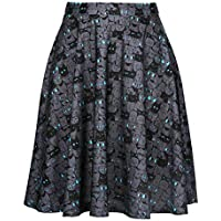 HDE Fun Printed Skater Skirts Flared Midi High Waist for Women