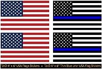 """4パック–2つLarge 4"""" x 6"""" USA国旗ステッカー+ 2つLarge 4"""" x 6"""" Thin Blue Lineアメリカアメリカ国旗丈夫な3Mビニールデカールステッカー、プレミアム品質、ダイカット、スクリーン印刷"""
