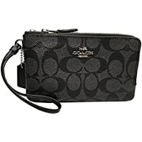 Coach Signature PVC Double Corner Zip Wristlet Black Smoke Black F87591