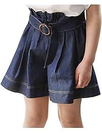 ショートパンツ 子供 女の子 夏 短パン ズボン デニムパンツ ゆったり ふんわり ワイドパンツ スカートシルエット ウェストゴム ベルト付き 無地 涼しい 可愛い キッズ ガールズ 半ズボン 通園 通学 100-140cm