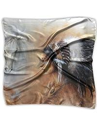ボヘミア女性 馬 ハンカチ プリント ポケットチーフバンダナ 正方形 プレゼント 母の日 贈り物 男女兼用 60 X 60cm/100 X 100cm