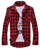 [ワイルドカクタス] シャツ チェック 柄 長袖 ワイシャツ メンズ トップス 上着 綿 カジュアル アメカジ レッド L サイズ (10 レッド L)