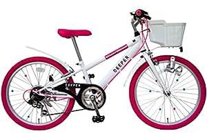 (ディーパー)DEEPER 22インチ 子供用自転車 DE-22 ガールズマウンテンバイク 6段変速 バスケット・ライト・カギ標準装備 ホワイト×ピンク