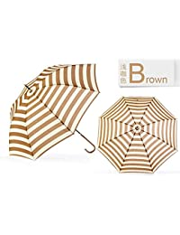 ブラウンultraviolet-proof傘ロングハンドル雨傘ブラウンネイビーストライプドーム