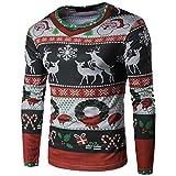 adidas 長袖Tシャツ ホット販売、aimtoppyメンズ秋冬Xmasクリスマスprintingtopメンズ長袖Tシャツブラウス S レッド AIMTOPPY