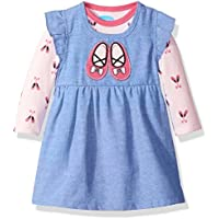 Bon Bebe Baby-Girls BFM1813G3-Ballet Chambray-Parent 2 Piece Chambray Dress Set with Longsleeve Bodysuit Casual Dress