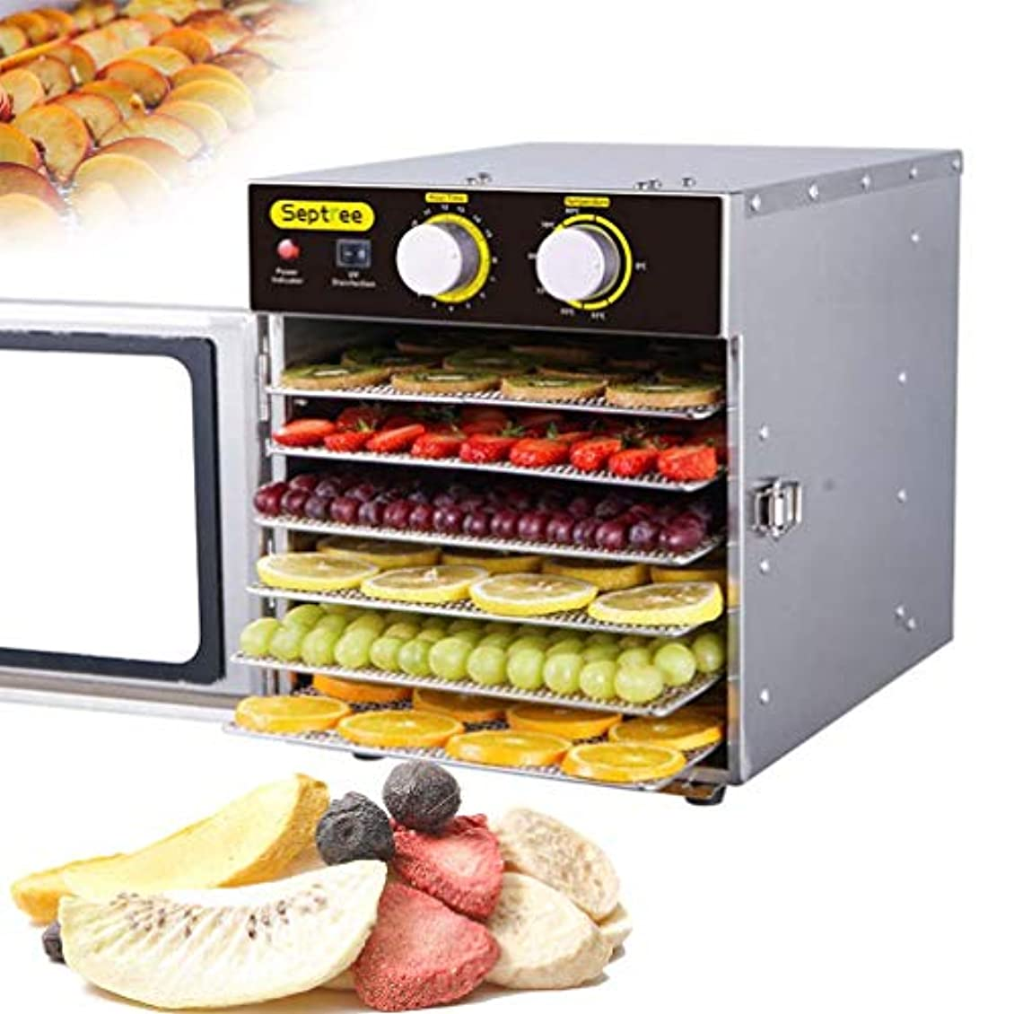 ビーム容赦ない証拠6フロアの食品脱水機トレイ、果物と野菜の脱水機33?80度の調整可能な温度、BPAフリー、.