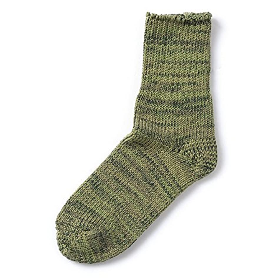 ベット研磨理解するローゲージカラフル靴下 MIXグリーン