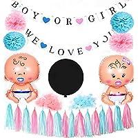 Gender Reveal Party SuppliesピンクブルーBallons/ティッシュポンポン付き/Boy or Girlバナー誕生日パーティー/ベビーシャワー装飾/ピンクブルー装飾/Gender Reveal Decorations