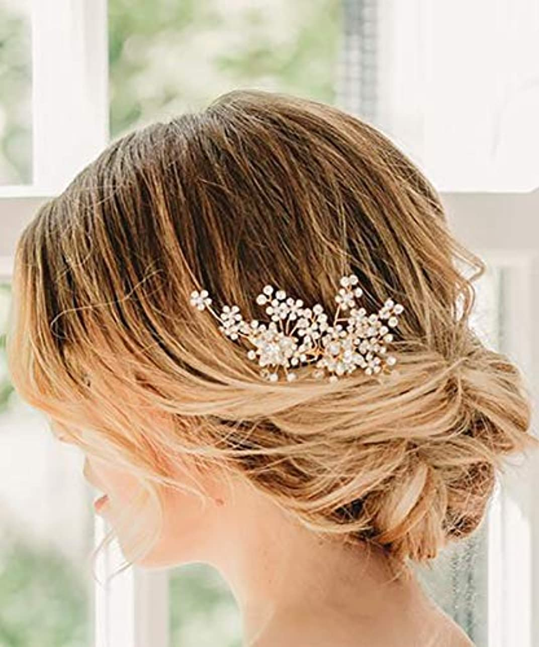 聞く集めるサイバースペースDeniferymakeup Dainty Bridal Floral Hair Comb Wedding Pearl Hair Comb Woodland Bridal Hair Accessories Flower...