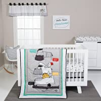 Trend Lab Hello 4 Piece Crib Bedding Set, Yellow, Gray and White [並行輸入品]