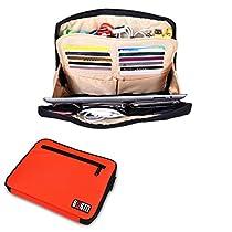 モバイル小物入れ for iPad・iPad Air ・PC周辺機器・ガジェット・文房具・化粧品 軽量 撥水加工 細かく区切れ バッグインバッグ 通勤 出張 旅行 (オレンジ色)