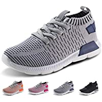 JABASIC Kids Running Shoes Boys Girls Lightweight Breathable Easy Walk Knit Sneakers