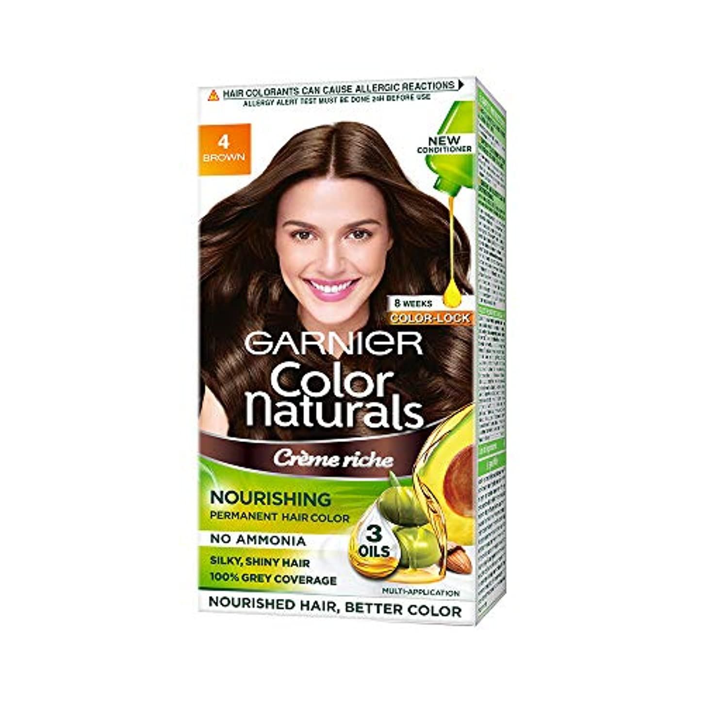 ギャラリー不正シロクマGarnier Color Naturals, Shade 4, Brown (70ml+60g)