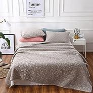 gardenlightess ベッドカバー ベッドスプレッド 無地 グレー ダブル 綿100% 3點セット 北歐 春夏用 200×230cm