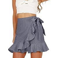 Haola Women's Casual High Waist Vertical Stripes Ruffle Mini Bodycon Skirt