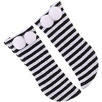 Dovewill ペア 1/6 SD Doll ドール人形のため 衣類 ストライプ 膝ポンボール ソックス 靴下 3色選択 - ブラック