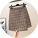 ウールのチェック柄のスカートの女性の秋と冬のの学生のハイウエストのは、薄い不規則な単語のスカート