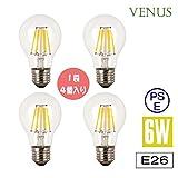Venus LED 電球 6W E26 口金 調光対応 広配光タイプ 2700K アンティーク電球 クリアLED電球 クリアタイプ エジソンランプ 【4個入り】