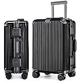 LNMLAN マット加工 アルミニウムマグネシウム合金フレーム スーツケース 機内持ち込みスーツケース トラベルバッグ キャリーバッグ TSAロック 静音キャスター6016