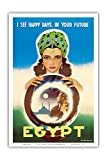 エジプト - 私はあなたの未来において幸せな日々を見ます - エジプトの占い師 - ビンテージな世界旅行のポスター によって作成された ラシャッド・マナッサス c.1960 - アートポスター - 31cm x 46cm