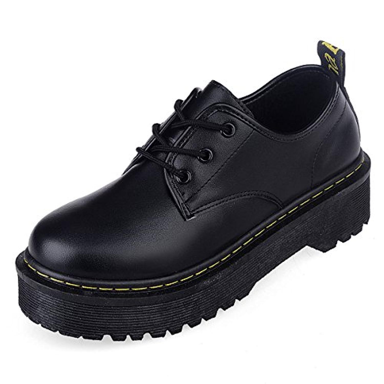 「BLLendina」レディース 厚底靴 皮靴 パンプス 履きやすい フラット 身長アップ ひも ブラック PUエナメル調
