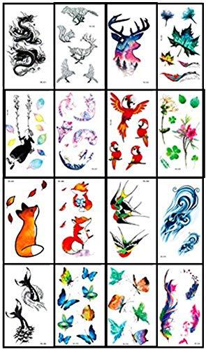 蝶 花 龍 狐 鳥 紅葉 四つ葉草 タトゥーシール 16枚セット 可愛い 個性 ウォータープルーフ 動物 ボディー...