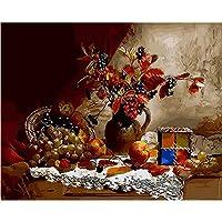 デジタル絵画を描く 家の装飾の動物の絵画花およびブドウのためのキャンバスのデジタルdiy映像の油絵40x50cm(16x20in)フレームレス