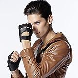 【GSG】メンズ レザー グローブ 本革 革 手袋 ディアーグローブ 指なし バイク 鹿革グローブ 02238【セール中】