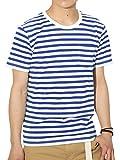 (リピード) REPIDO Tシャツ ボーダー 半袖 クルーネック メンズ ボーダーTシャツ ホワイト×ブルー(B) Lサイズ