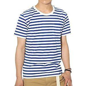 (リピード) REPIDO Tシャツ ボーダー 半袖 クルーネック メンズ ボーダーTシャツ ホワイト×ブルー(B) XLサイズ