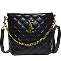 Ladies handbag shoulder bagc rossbody bagLadies handbag shoulder bagc rossbody bagKorean version of the rhombus embroidered bucket bucket chain chain cross-body bag