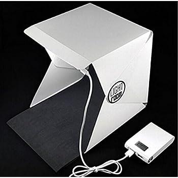 撮影ボックス 小型 22.6*23*24 cm 撮影キット 簡易スタジオ 組み立て式 20個105型LEDライト搭載 撮影用照明 折り畳み 携帯型 写真 ライトボックス バックスクリーン2枚 背景スタンド USB給電 コンパクト 収納便利