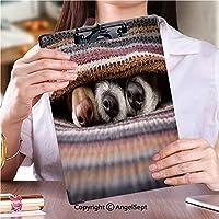 クリップボード A4サイズ対応 レンジップボード 会議資料など挟一緒に毛布の下の犬 (1個)