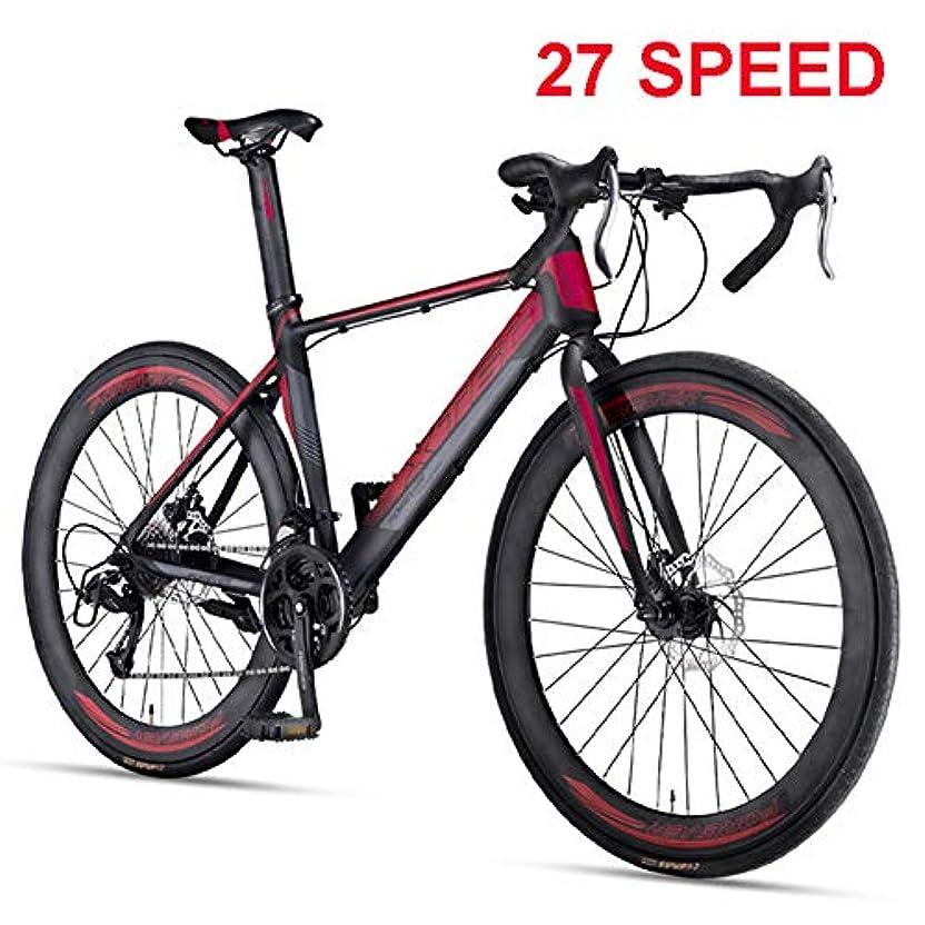 ベアリングサークル刻む模倣男性とティーンのためのマウンテンバイク、700Cロード自転車、27-速度可変速フラットハンドルバーサイクリング、マウンテンオフロード自転車軽量自転車衝撃吸収バイク,黒,27 speed